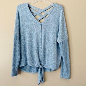 BCX  V-Neck Tie Front Dolman Sleeve Sweater M